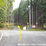 林道ダルガ峰線の案内板の設置してある十字路