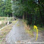 日名倉山の登山口に向かう途中の林道分岐