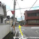 松ノ本北バス停横から右に入って県道67号線を横切る