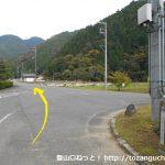 竹ノ内バス停からの道が不動ノ滝方面に向かう林道に出合うところ