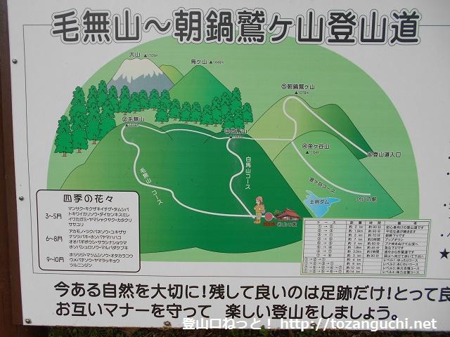 毛無山の田浪キャンプ場が粟の登山口に設置されている登山コースの案内板