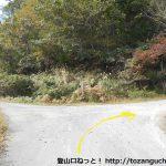三川山に至る林道の入口