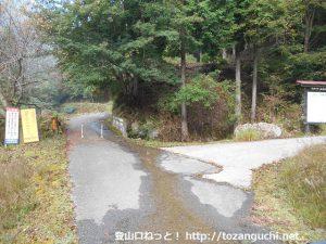 阿瀬渓谷の入口の車止め地点