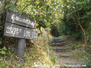 石巻山の間場登山口に設置されている道標