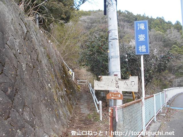 滝壺橋のミツバ岳登山口