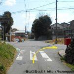 長山駅南側の辻を右折
