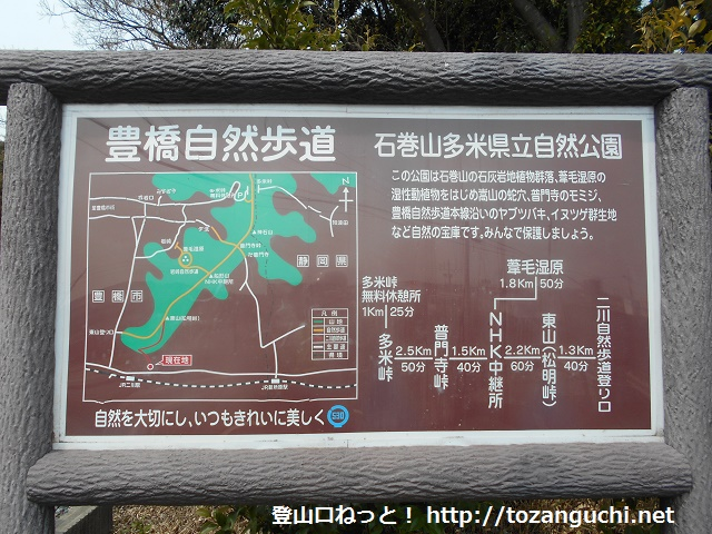 二川自然歩道の案内板
