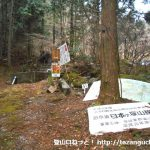 古里富山バンガロー村にある日本ヶ塚山の登山コースの入口