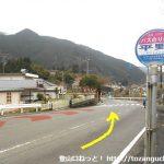 平野バス停前の県道29号線を少し戻る