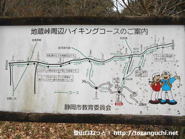 葵高原の駐車場に設置されている青笹山の登山コースマップ