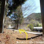 河口浅間神社の本殿裏手から車道に出る