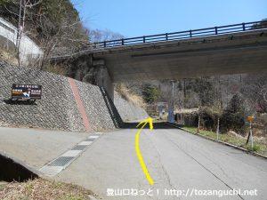 河口浅間神社から母ノ白滝に向かう林道の入口