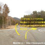 杓子山・立ノ塚峠の登山口手前の十字路