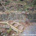 白光神社の里宮の本殿左奥にある八高山の急斜面コースの入口