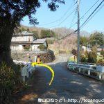 石老山入口から500mほど歩いたら左カーブのところで右の小路に入って橋を渡りすぐに左折