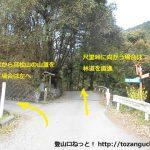 高松山の登山口に向かう途中の林道の入口分岐