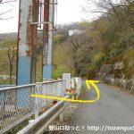 谷峨駅の東側にある吊り橋を渡ったら左折