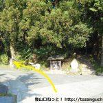 矢倉沢バス停から矢倉岳に行く途中の白山神社前を左へ
