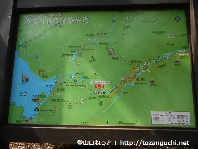 甘酒茶屋の裏手にある須雲川自然探勝路の入口に設置されているハイキングコースの案内板