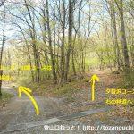 夕狩沢の入口にある兜山の登山口の林道分岐