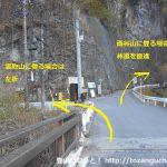 小川谷橋の林道日原線と小川谷林道の分岐
