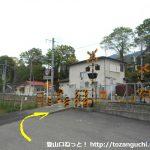 市川本町駅の東側の踏切を渡る