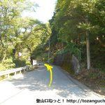 行道山バス停前の車道を進む