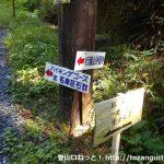 行道山浄因寺の参道に設置されている名草巨石群のハイキングコースとの分岐を示す道標